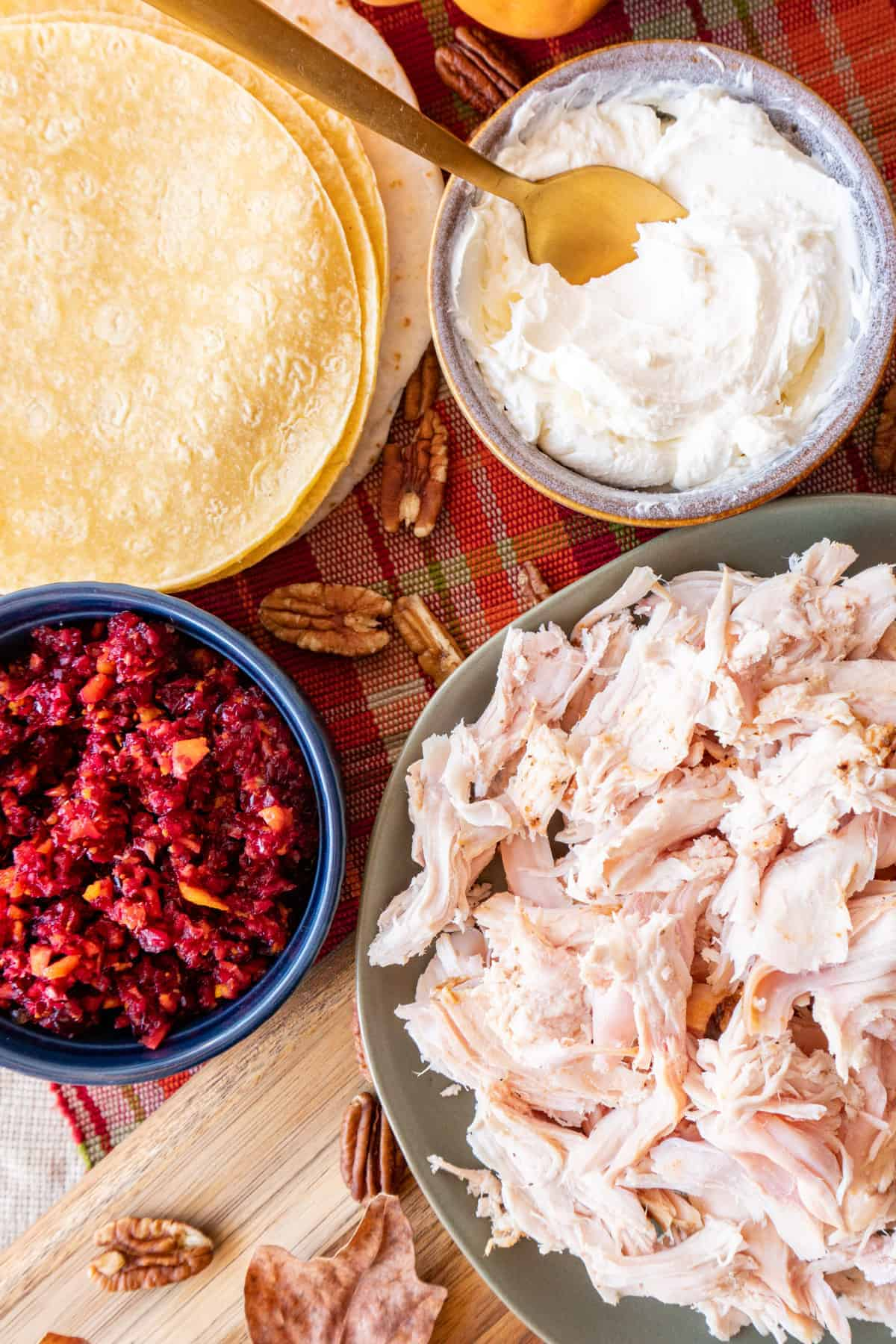 Turkey, cream cheese, cranberry relish, and tortillas