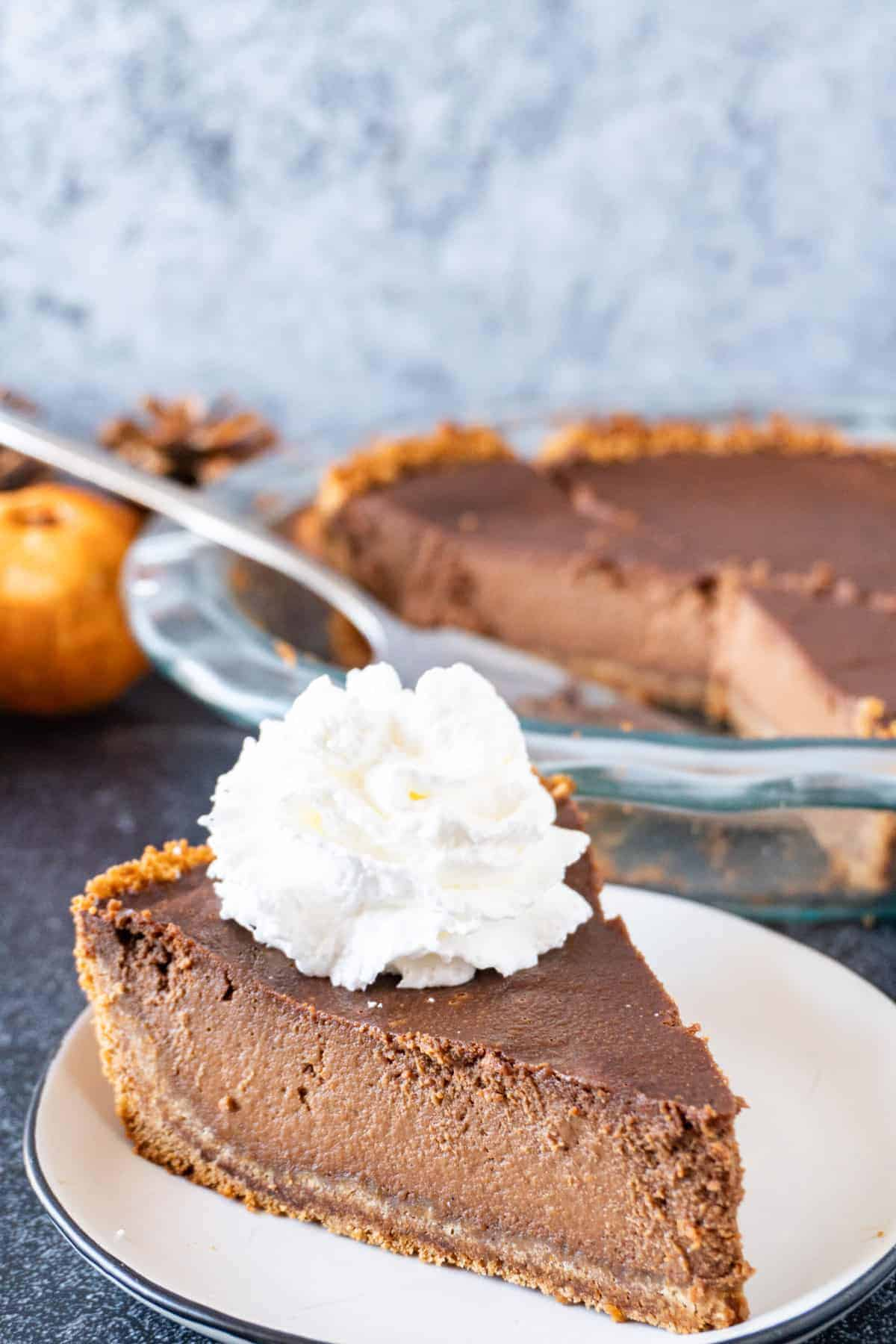 A slice of Chocolate Pumpkin Pie