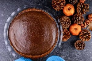 Chocolate Pumpkin Pie just after baking with a domed top