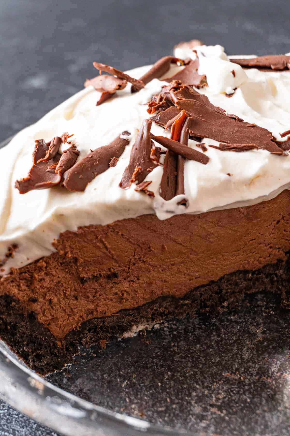 French Silk Chocolate Pie in pie dish