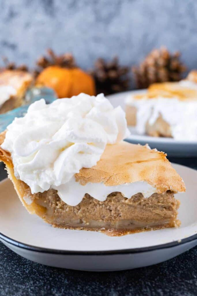 Sweet Potato Pie Slice from the side with toasted marshmallow and whipped cream