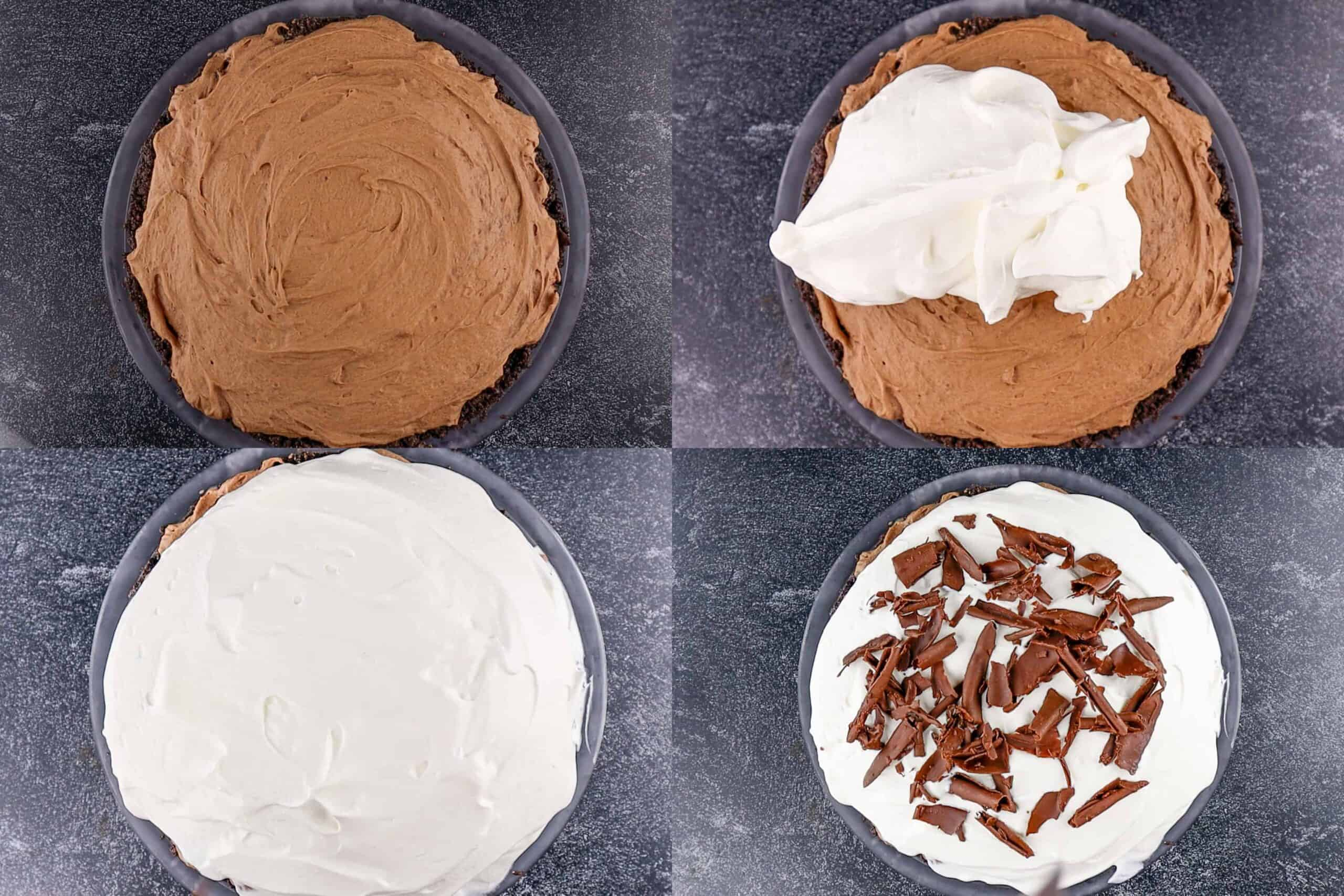 adding the whipped topping and chocolate curls to pie process photos