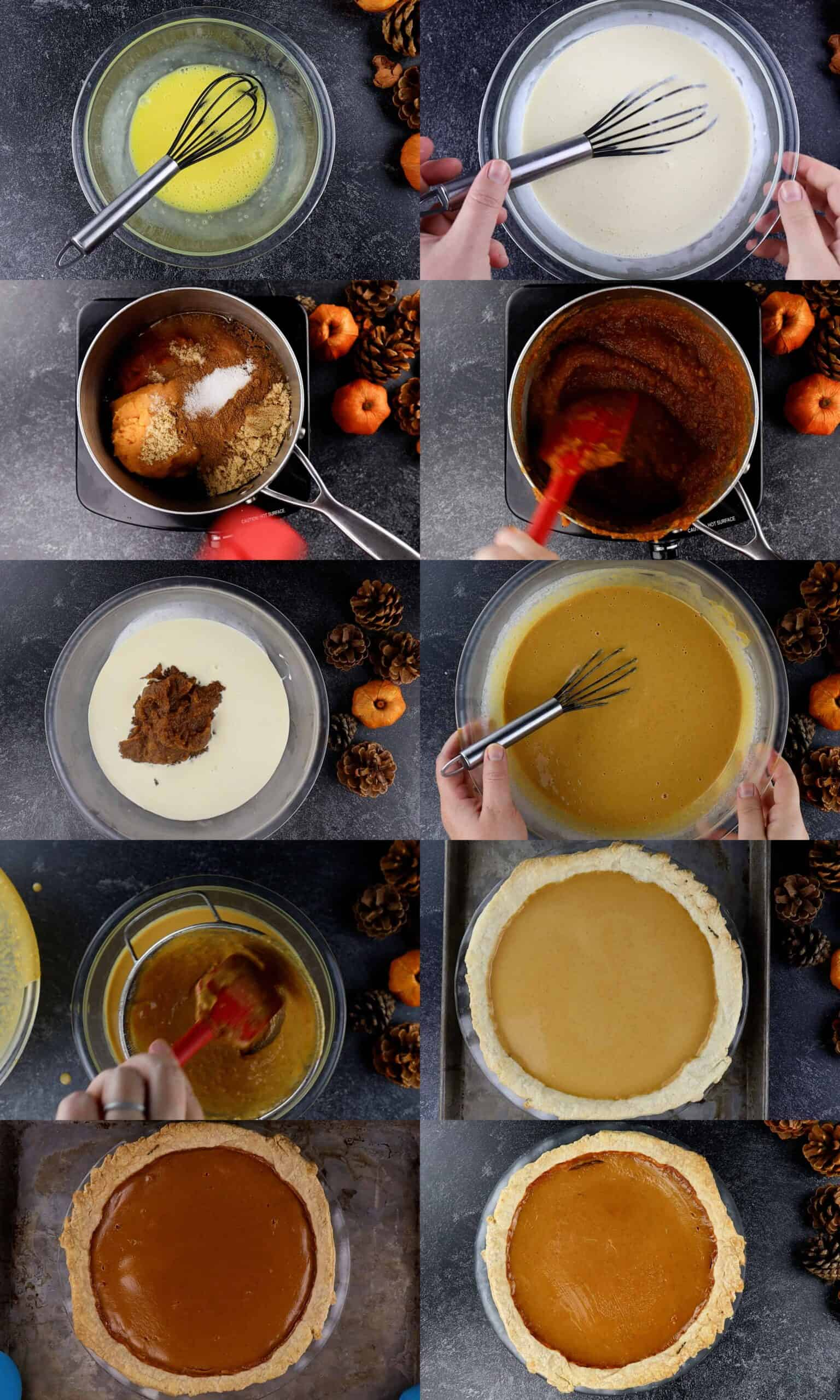 how to make pumpkin pie process shots