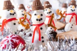 snowman truffle with more snowmen in background