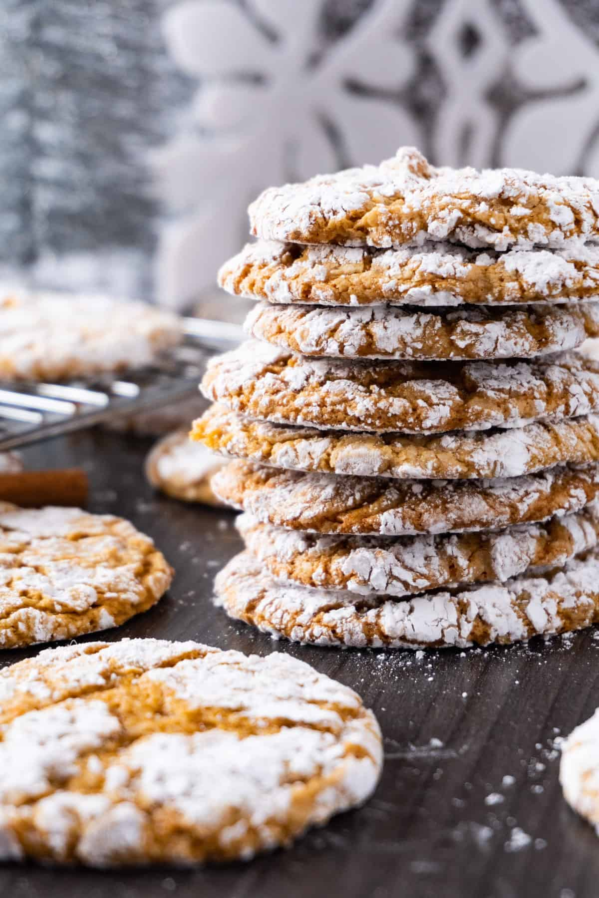 chewy gingerbread cookies stacked