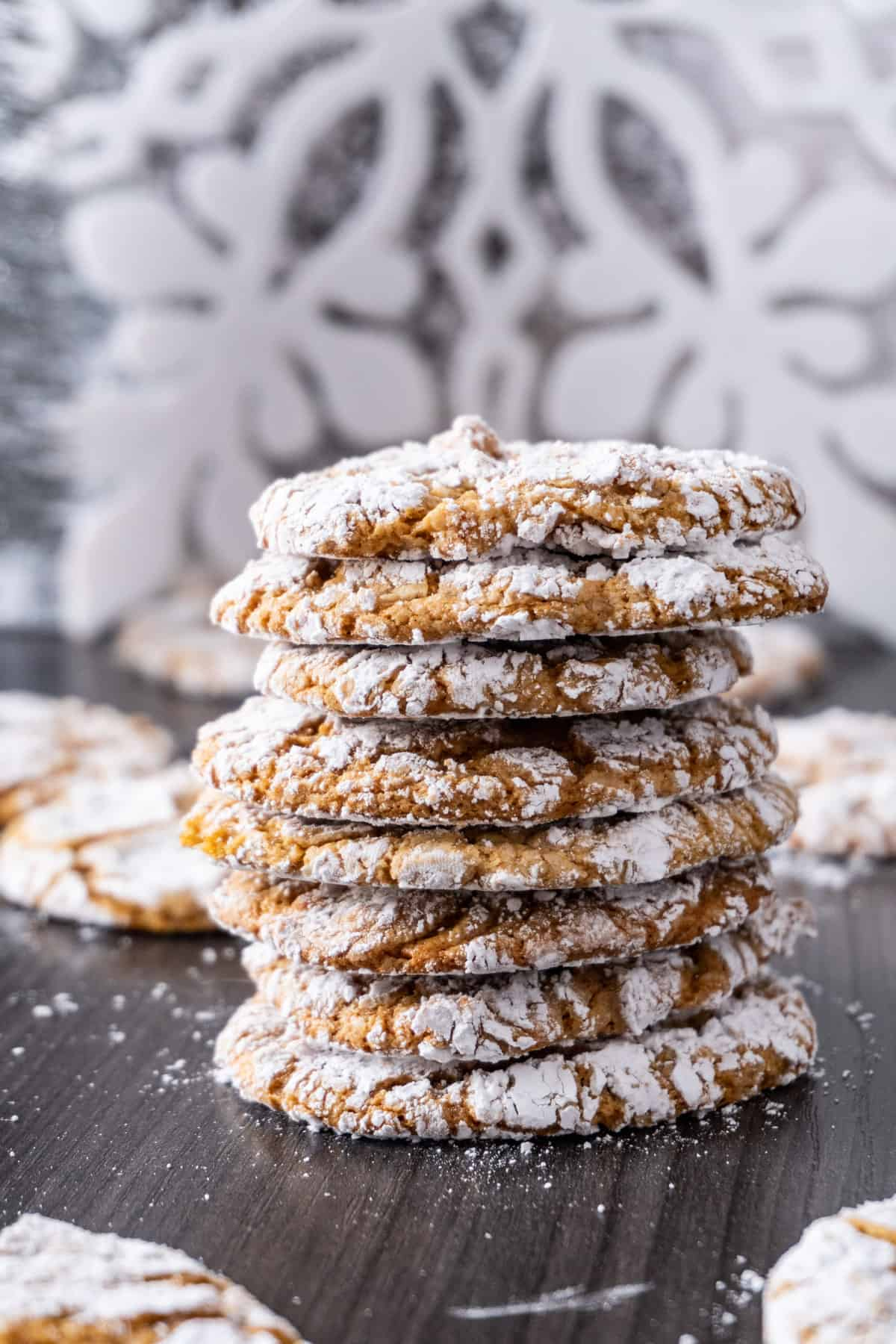Chewy Gingerbread Cookies stacked vertical pic