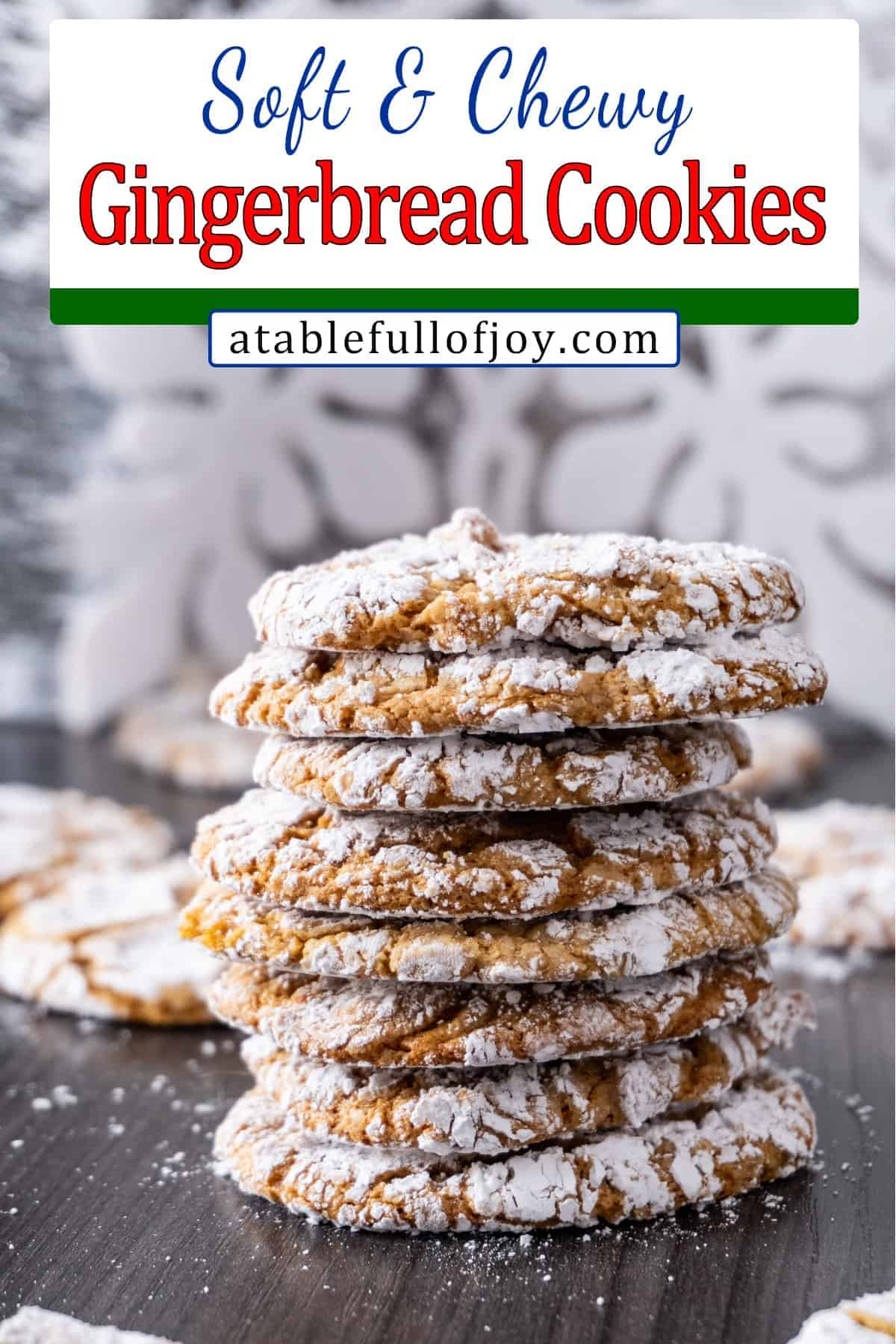 Chewy Gingerbread Cookies pinterest pin