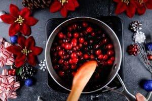 coating cranberries in sugar syrup