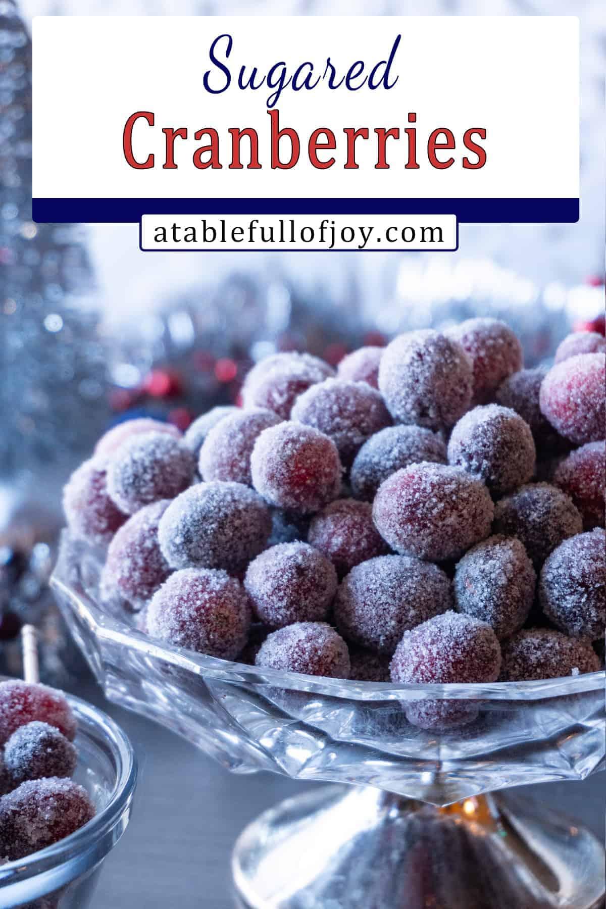 sugared cranberries recipe pinterest pin