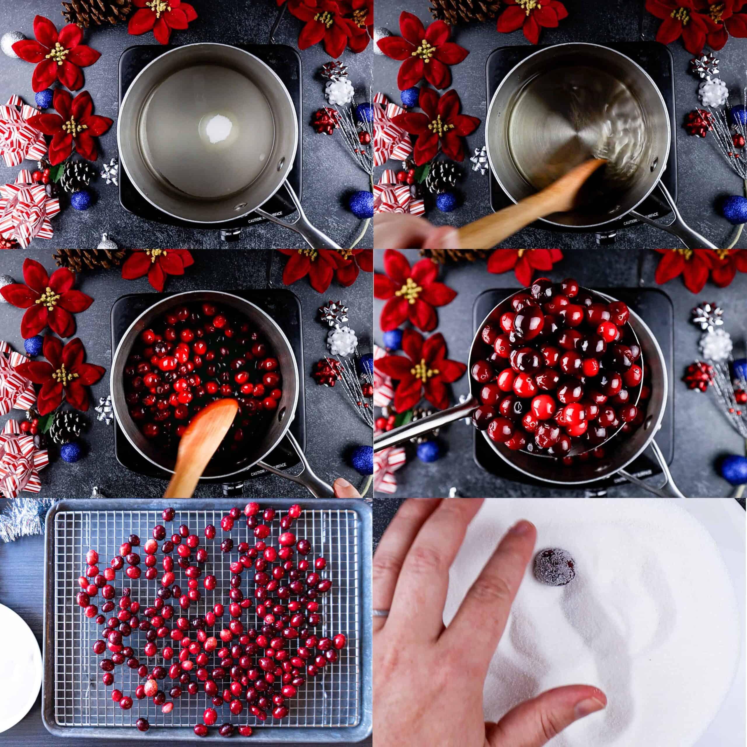 process shots of making sugared cranberries