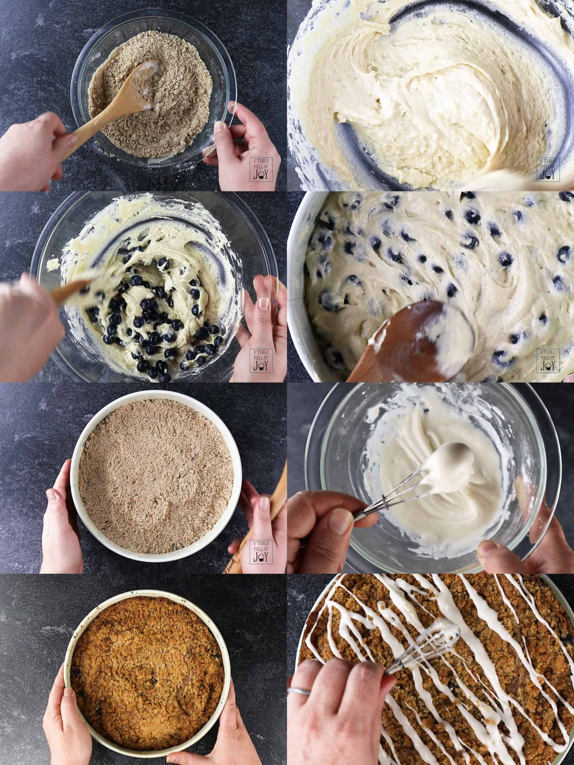 Proces shots of making coffee cake