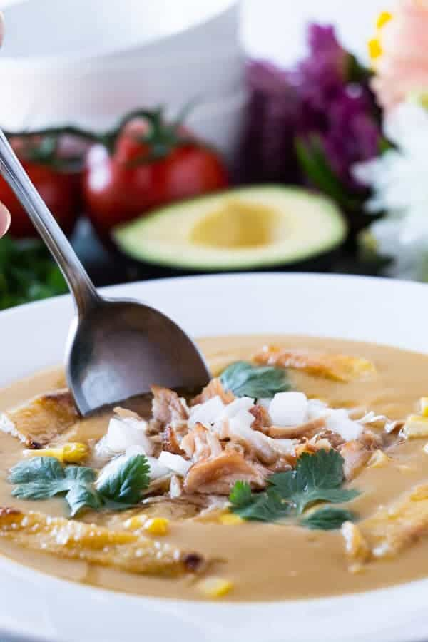 An easy tortilla soup recipe that takes 10 minutes to make! Full of flavor and perfect for dinner, this easy tortilla soup recipe is a winner! #tortillasoup #easy #dinner #soup #chicken #healthy
