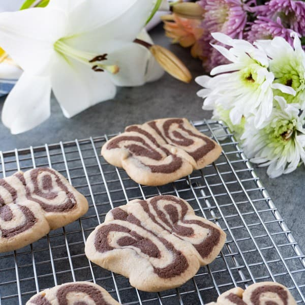 Butterfly Cookies -These tasty peanut butter and chocolate sugar cookies are fun to make and great for Spring! These butterfly cookies are a delicious spin on a classic sugar cookie recipe! #peantunbuttercookie #atablefullofjoy #sugarcookie #butterflycookie #forkids #babyshower #easy #simple #tutorial