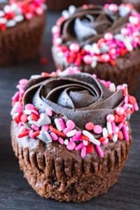 valentine's day cupcake close up