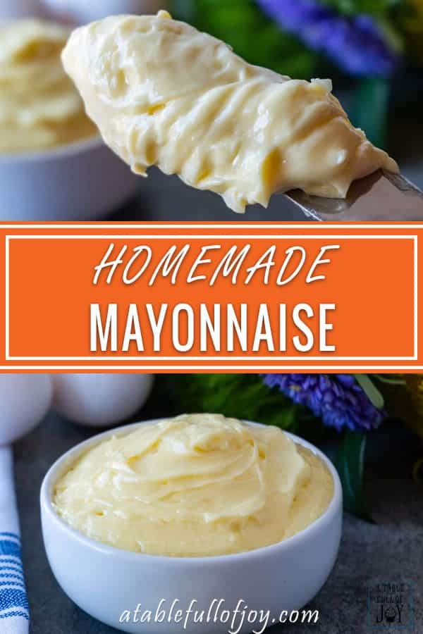 Homemade Mayo is easy to make and extra delicious! Thick and creamy - you won't want to go back to store bought after making your own homemade mayo! #homemademayo #mayo #paleo #keto #whole30 #atablefullofjoy #easy #best