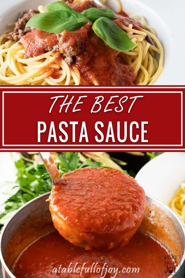 This easy pasta sauce recipe tastes delicious and takes no time at all to make! #easy #pastasauce #homemade #garlic #atablefullofjoy #dinnerrecipe