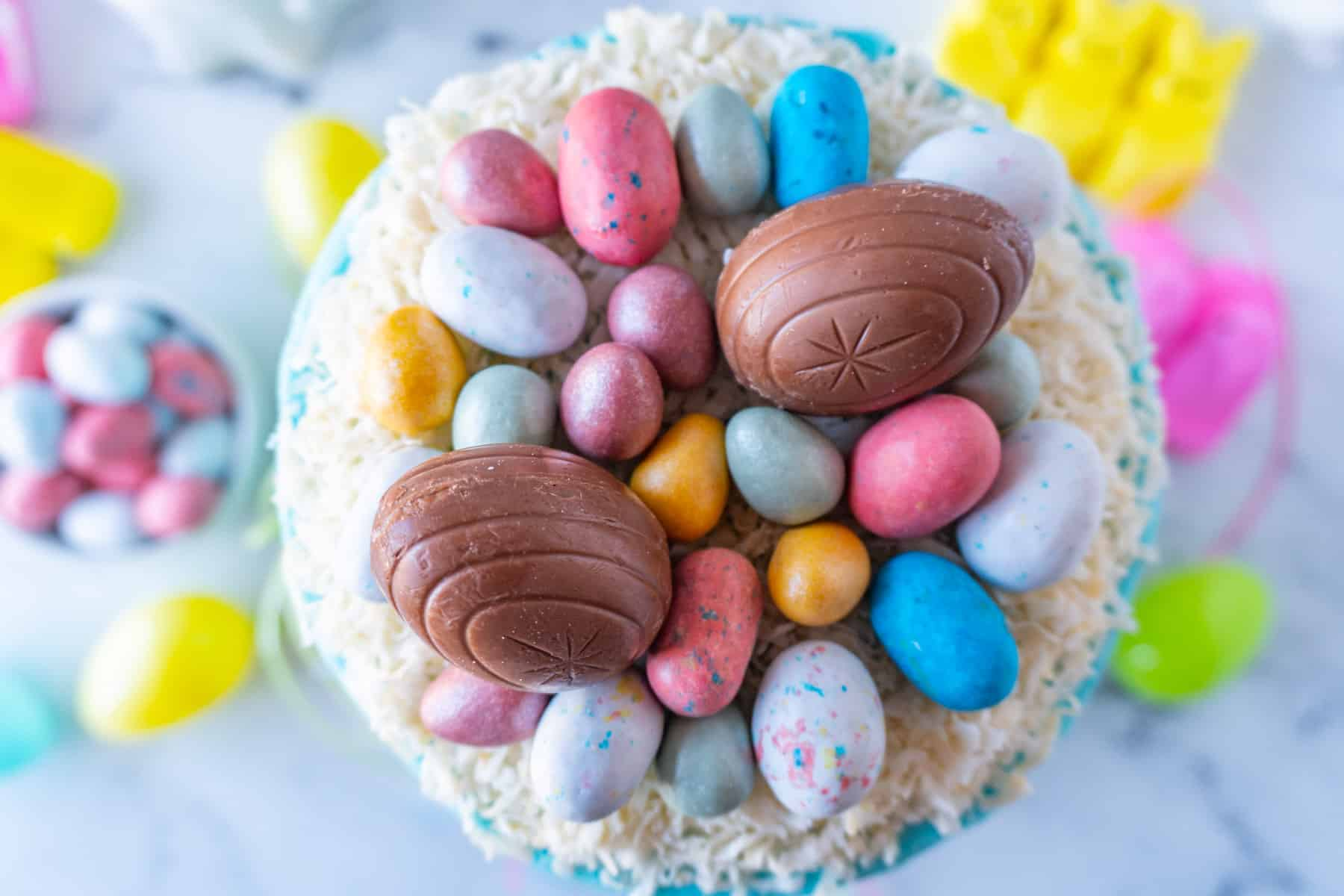Top of the Easter Cake- coconut next with Easter egg candies