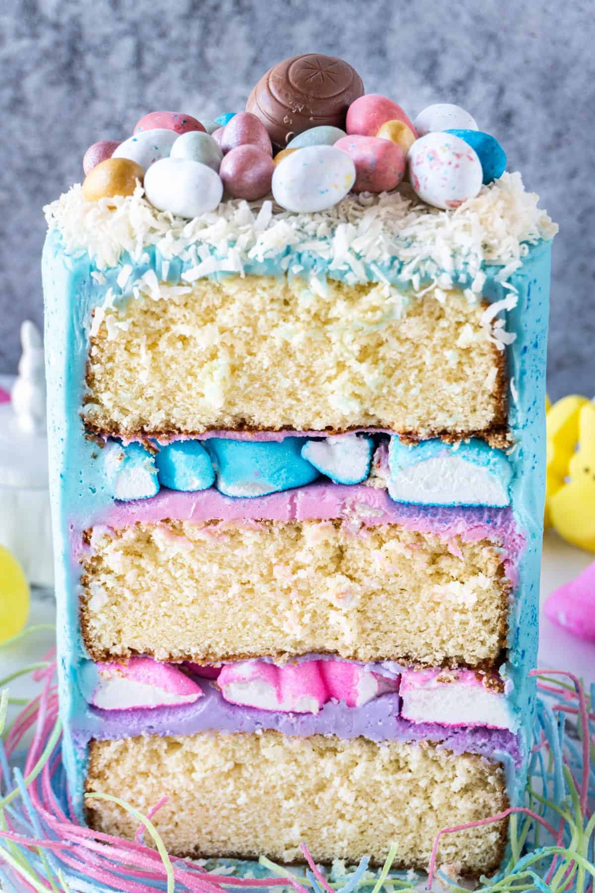 Cross section of the Easter Cake showing all the layers