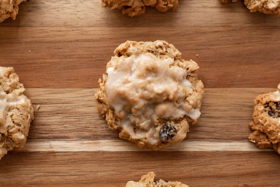 Close up of oatmeal cookie.
