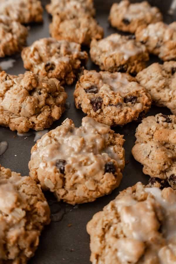 Oatmeal cookies on baking sheet.
