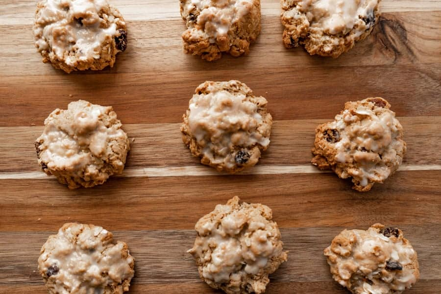 Oatmeal cookies spread out.