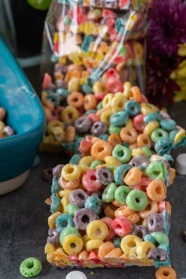 Fruit Loop Marshmallow Bars decoratively displayed