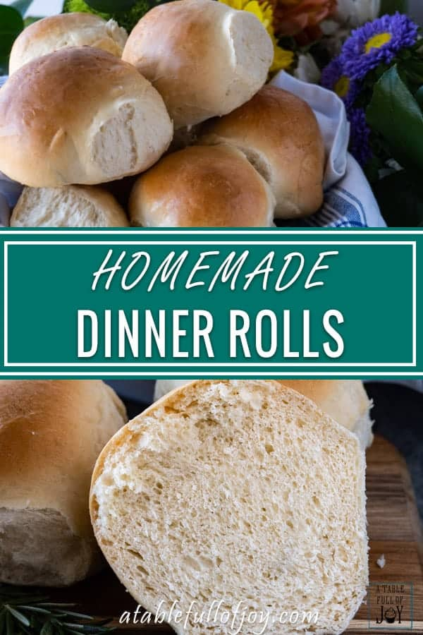 Homemade dinner rolls that are hearty and taste delicious! Is there anything better than a warm homemade dinner roll fresh from the oven? #homemade #dinnerroll #roll #bread # easy #atablefullofjoy #breadbowl