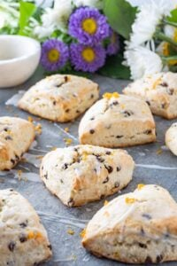 orange buttermilk scones with glaze drizzle dover it with
