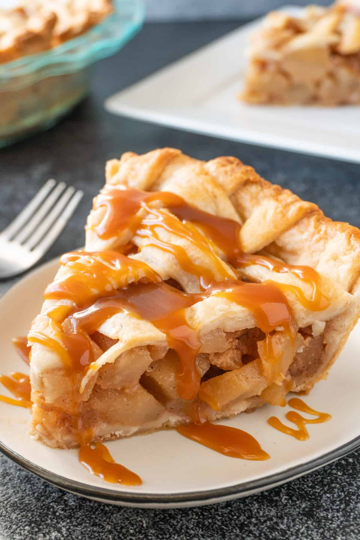 Caramel Pear Pie with caramel drizzled over it