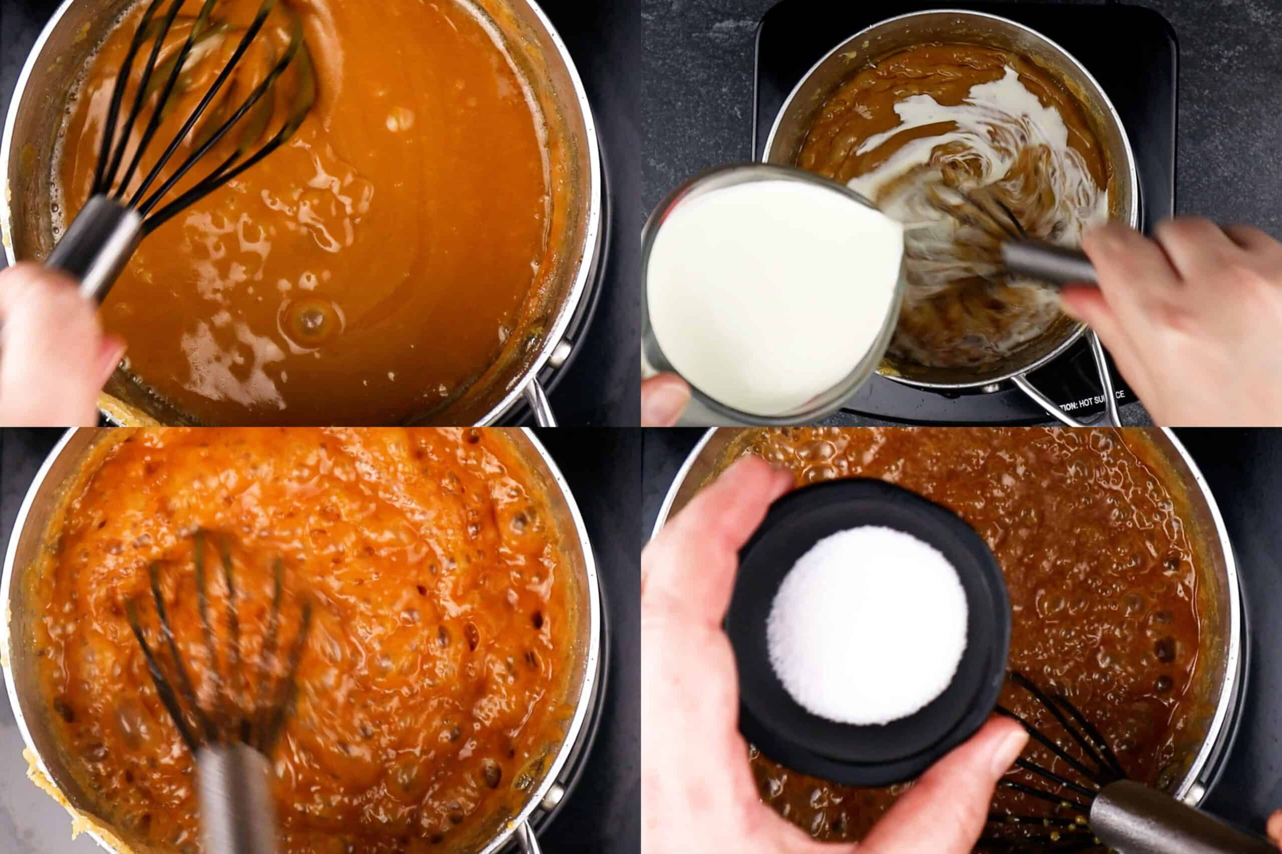 Adding cream and salt to melted sugar