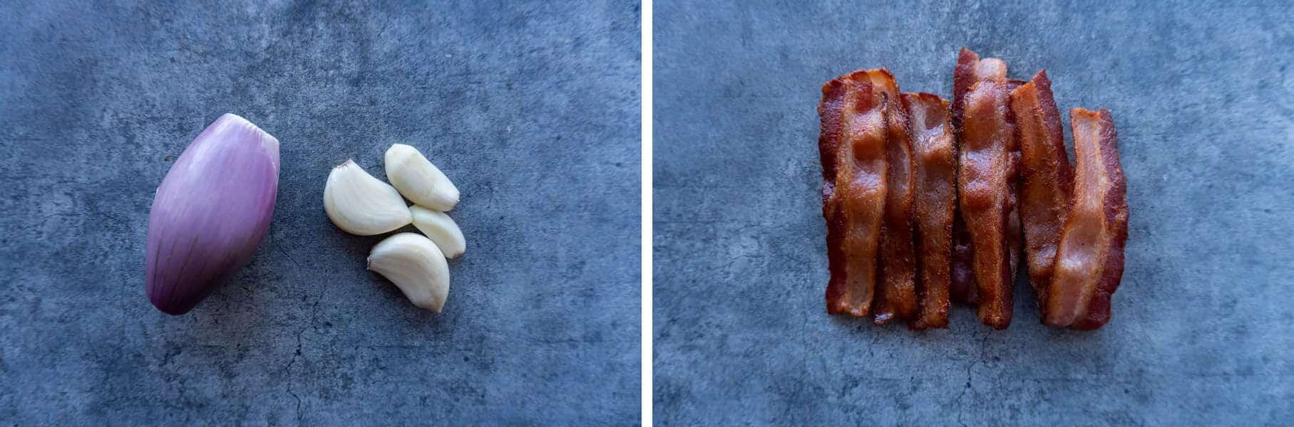 Bacon, garlic, shallots for dip