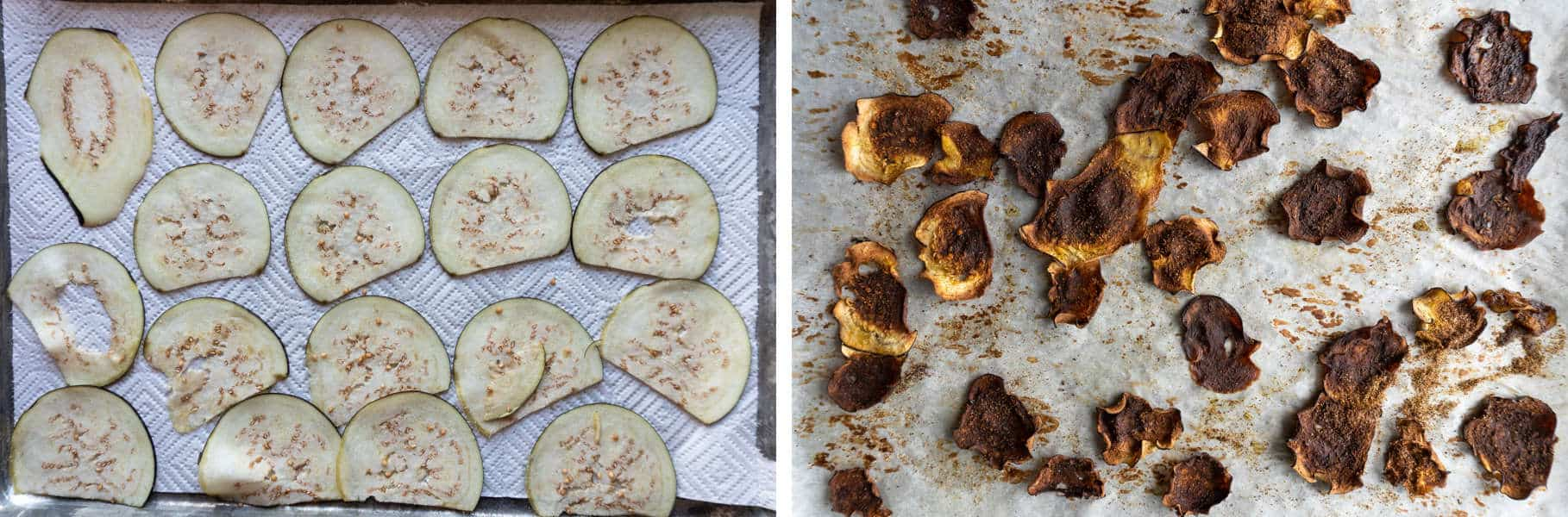 Eggplants before and after baking