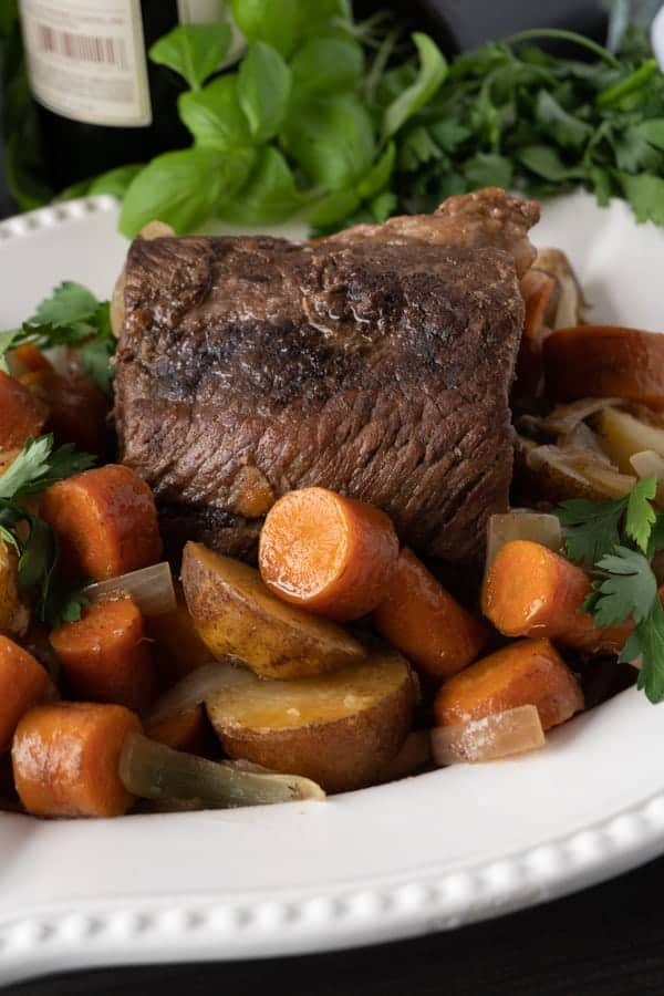 Crock Pot Pot Roast in large serving dish