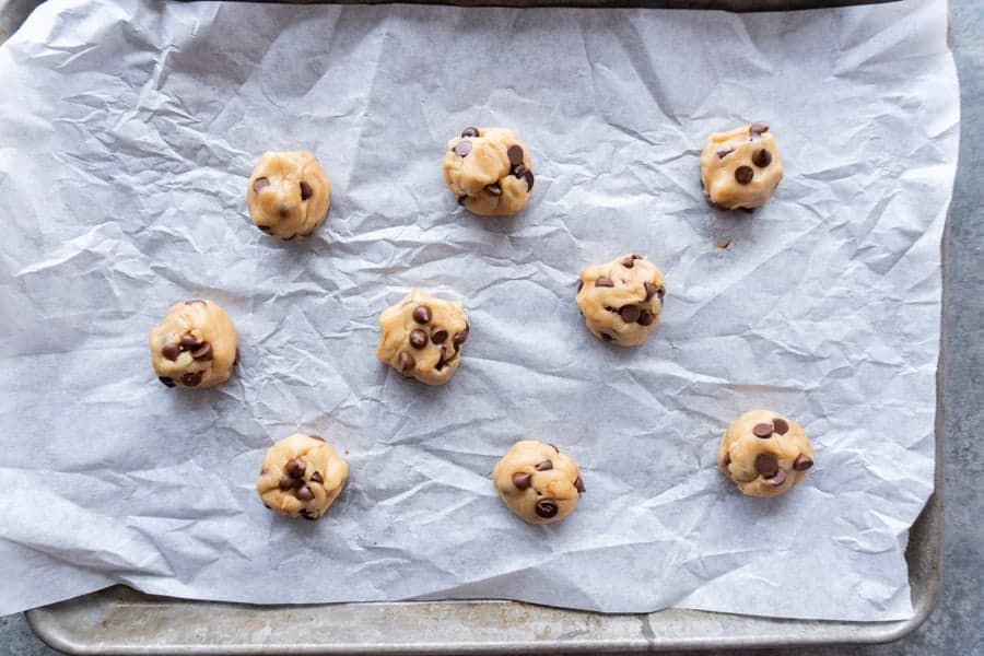 Dairy Free Chocolate Chip Cookies on baking sheet before being baked