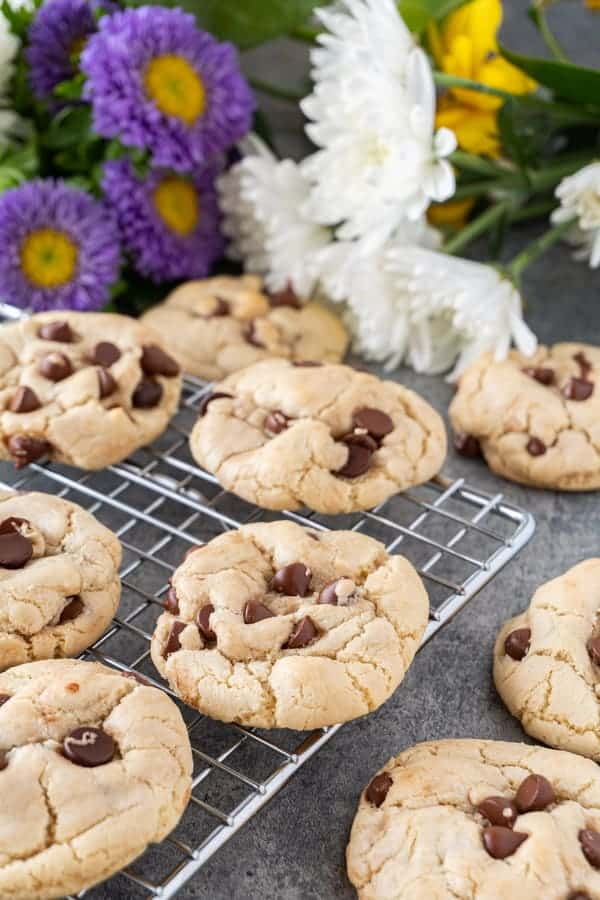 Dairy Free Chocolate Chip Cookies on Cooling Rack