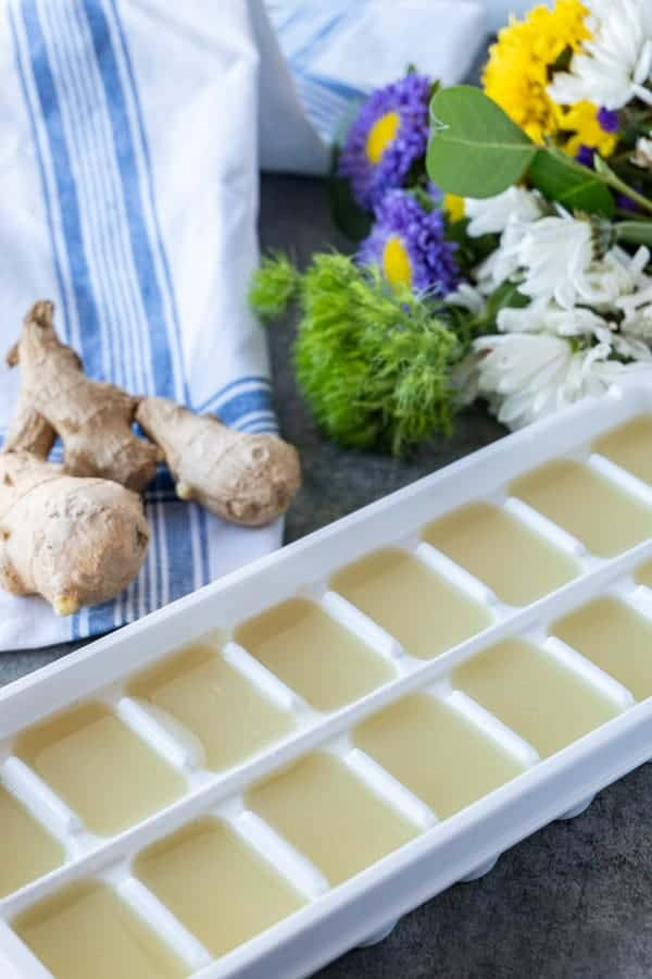 Ginger juice in ice cube tray