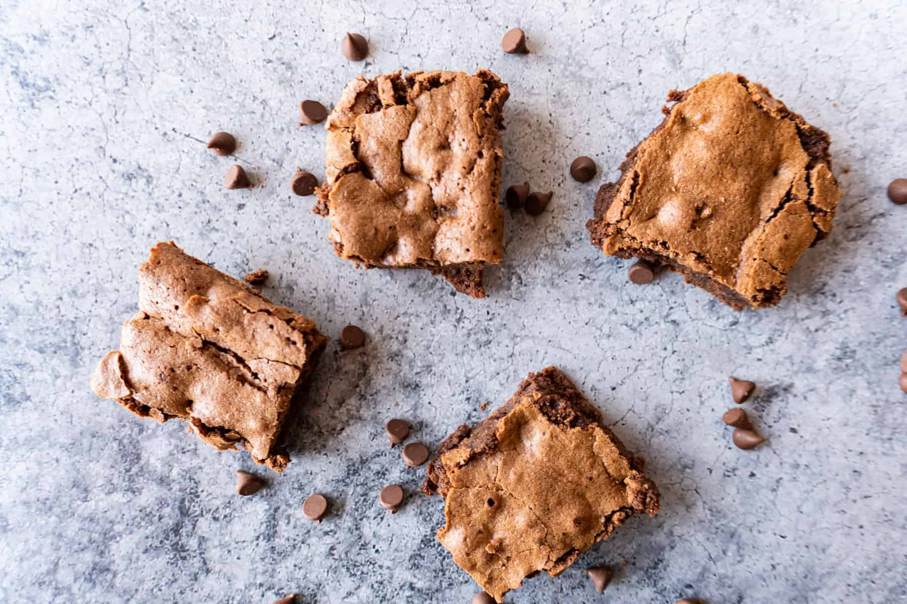 brownie pieces with chocolate chips surrounding them