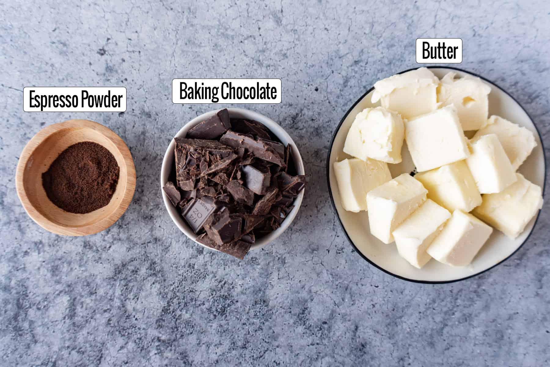 Best Homemade Brownies Recipe Ingredients : espresso powder, baking chocolate, butter