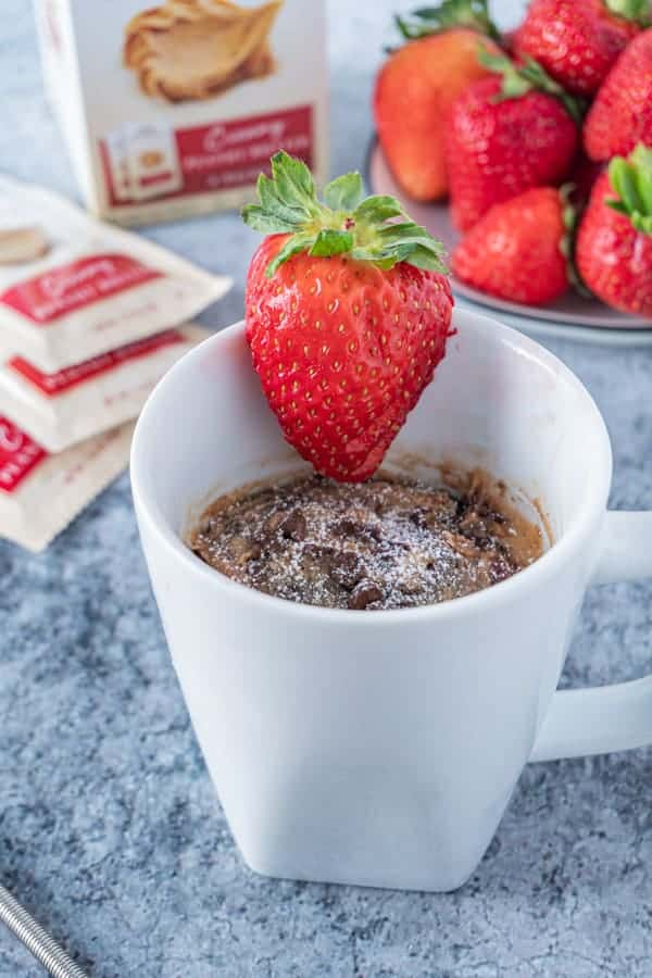 Peanut Butter and Jelly Chocolate Mug Cake with Powdered Sugar on top