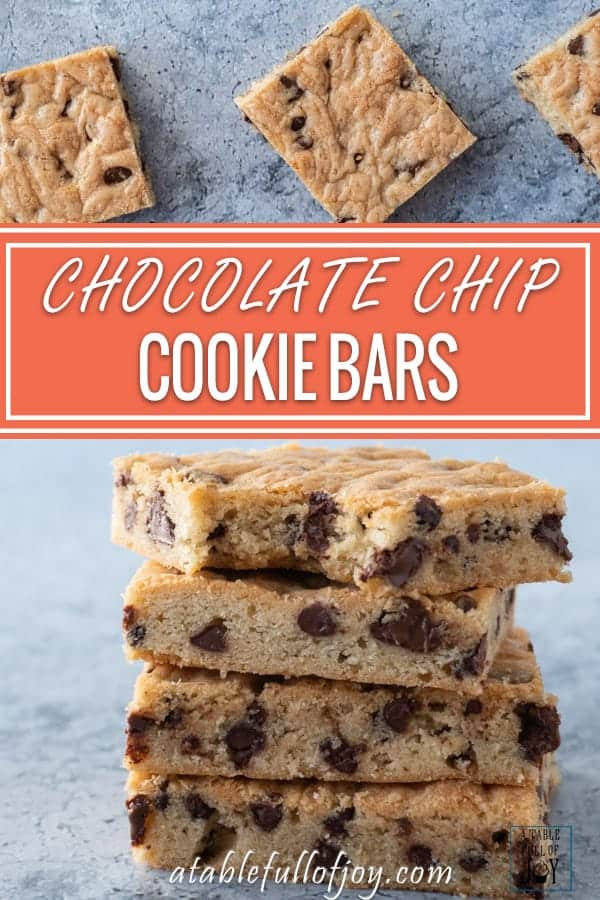 Chocolate Chip Cookie Bars Pinterest Pin