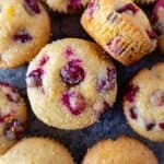 Orange Cranberry Muffins top down view