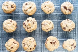 chocolate chip pudding cookies on cooling rack