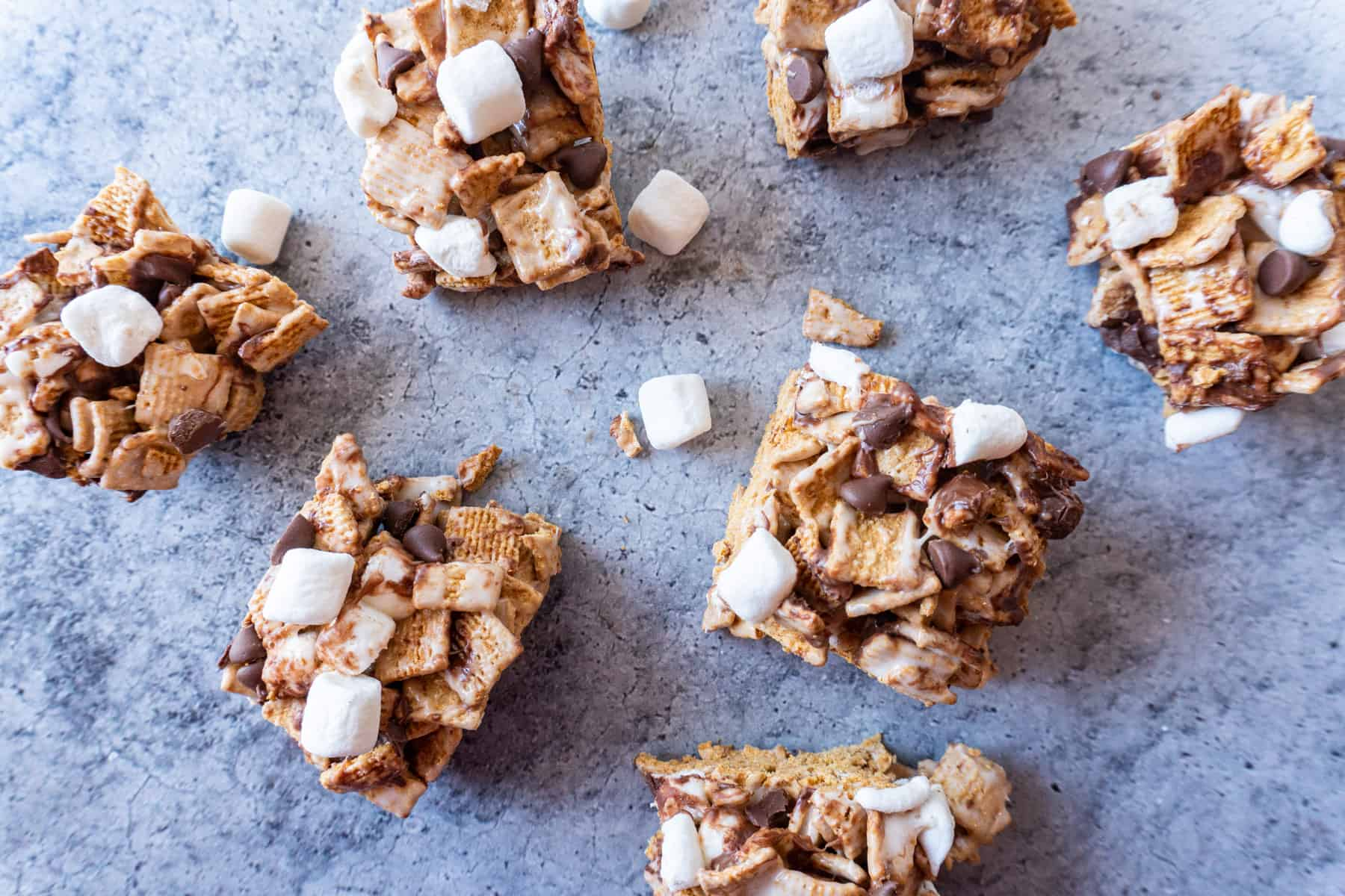 golden graham s'mores bars spread out