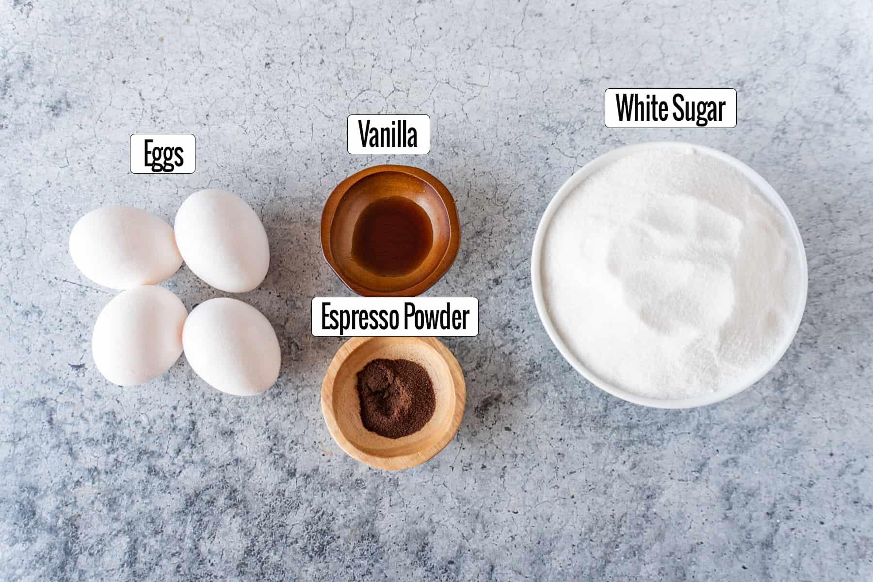 ingredients: eggs, vanilla, espresso powder, sugar