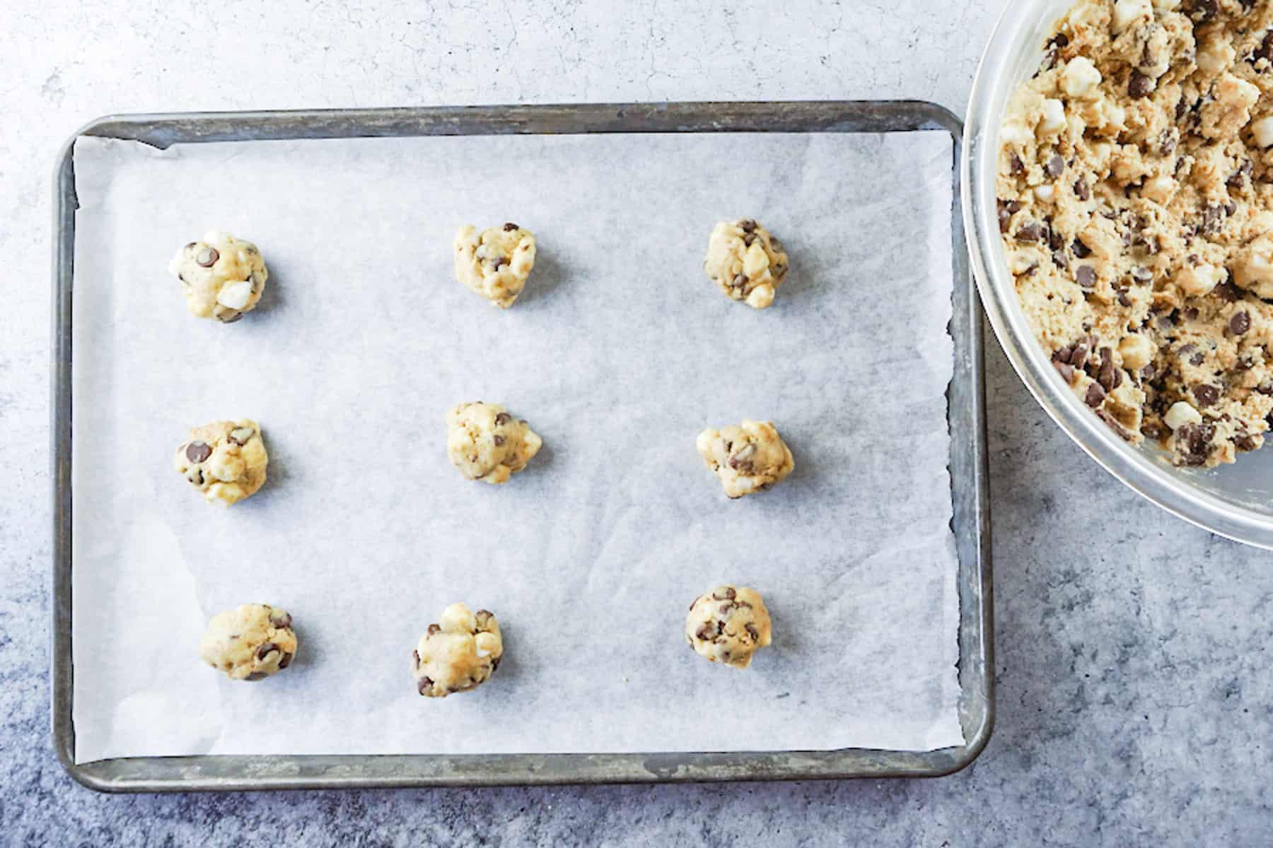 S'more cookies before baking on baking sheet