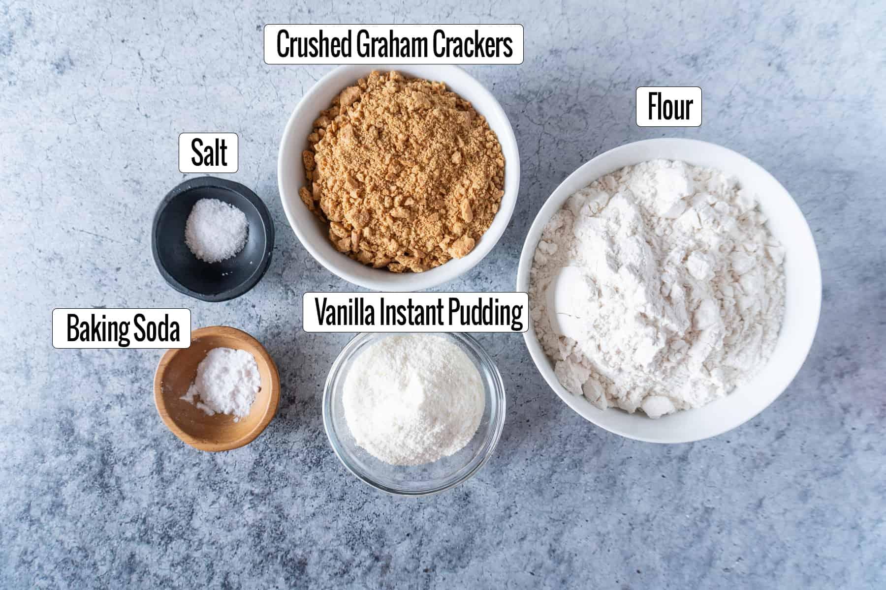 salt, baking powder, graham crackers, instant pudding, flour ingredients