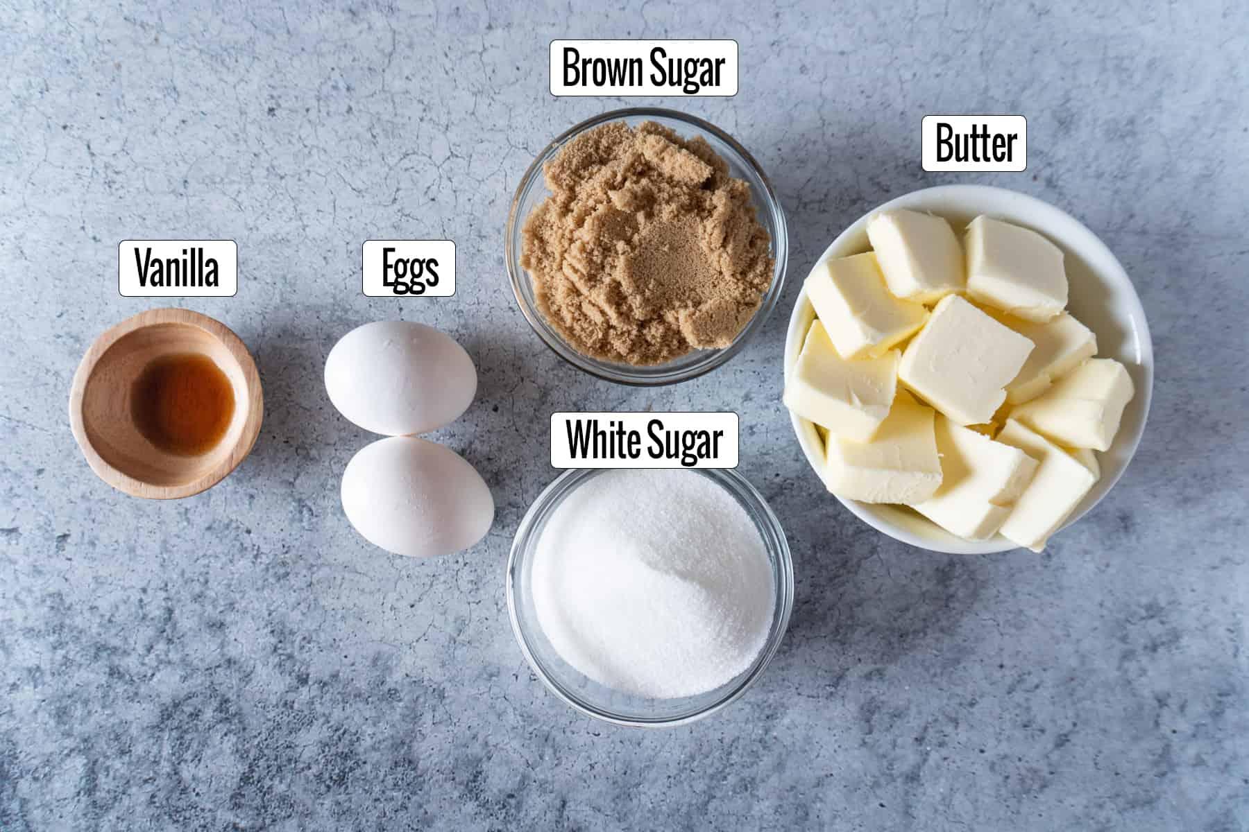 vanilla, eggs, sugars, and butter