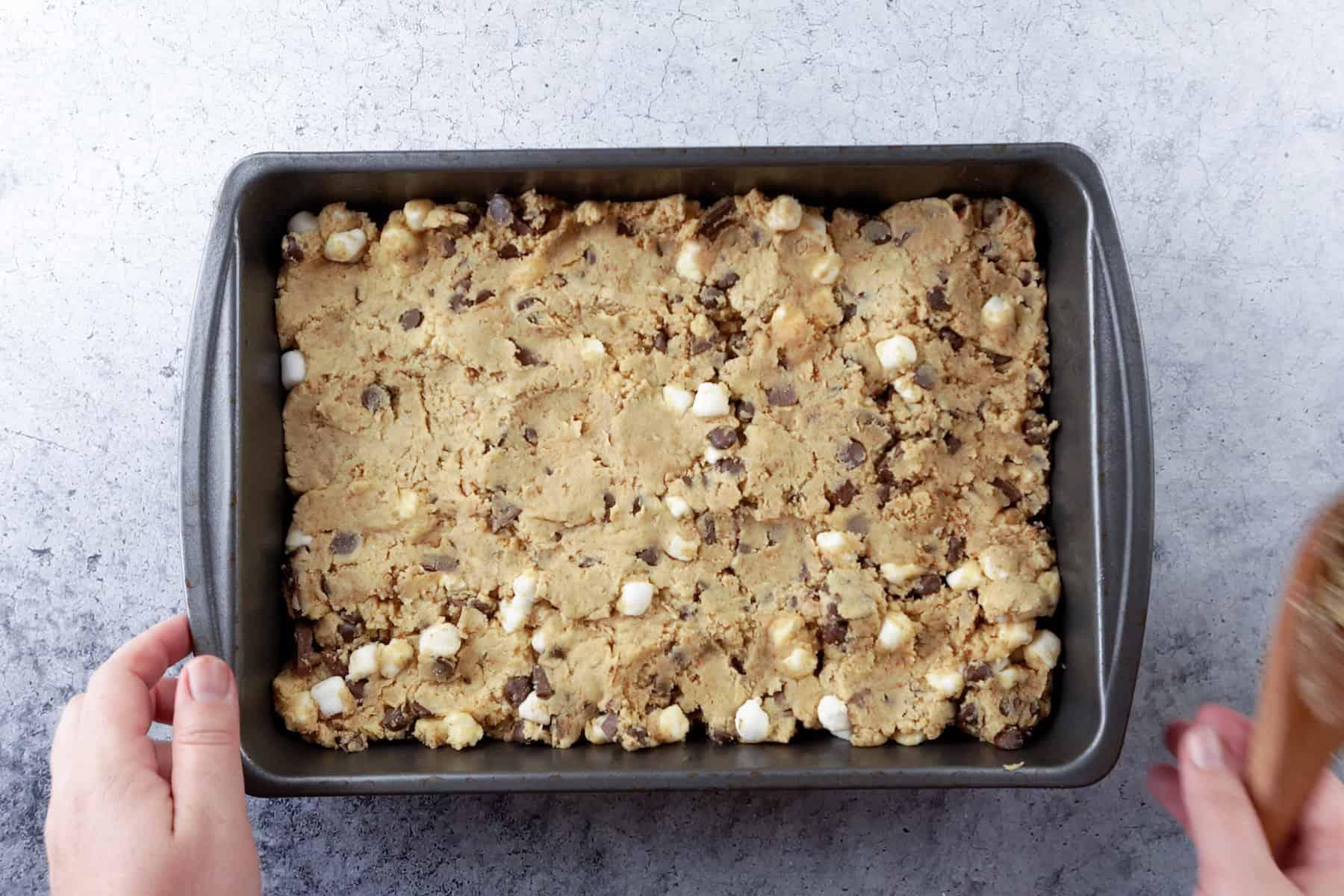 cookie in pan before baking
