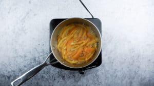 boiling orange peels in sugar water
