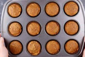 pumpkin cupcakes baked in cupcake tin
